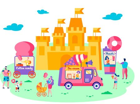 Summer Time Vacation in Amusement Park. Family Holidays, Children Eating Ice Cream and Cotton Candy. , Leisure, Relax, People Walking around Huge Castle Attraction Fun Cartoon Flat Vector Illustration