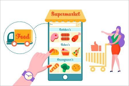 Woman with Trolley at Huge Smartphone with Supermarket Products on Screen, Goods, Customer Use Mobile Application for Online Purchase Service, Easy Shopping, Delivery, Cartoon Flat Vector Illustration