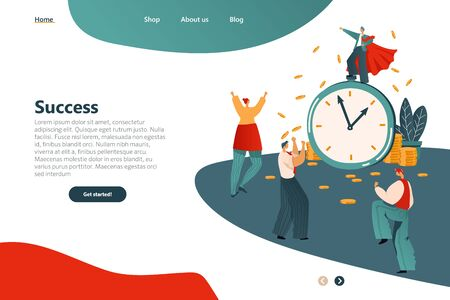 Banner Success Lettering Landing Page Cartoon. Male Winner Stands on Big Clock. People Rejoice and Laugh at Success Employee. Financial Reward for Successful Execution Work on Time.
