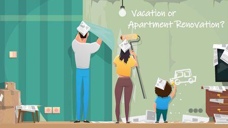 Wohnung, Hausrenovierung im Urlaub Cartoon-Vektor-Konzept. Familienmitglieder, Eltern mit Kind, die Papierhüte tragen, Wohnzimmer reparieren, Malerei, Wandtapeten in ihrem neuen Zuhause Illustration