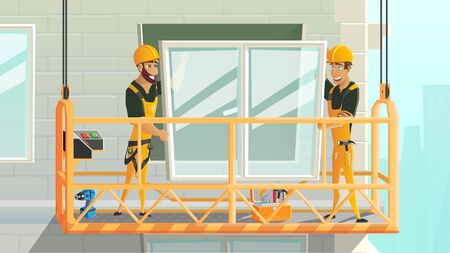 Contractors on Construction Works Cartoon Vector Concept. Workers in Uniform and Safety Helmet, Climb on Motorized Gondola, Installing Double-Glazed Window in High Building Apartment Illustration