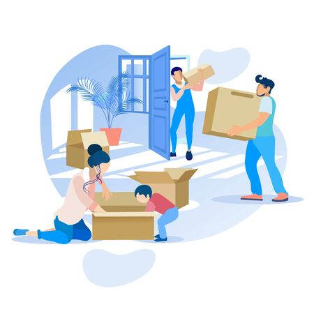 Happy Moving House Family Cartoon Illustration. Mother and Son Pack or Unpack Cardboard Box. Delivery Service Staff and Father Carry other Packages. Transportation and Relocation. Vector Illustration