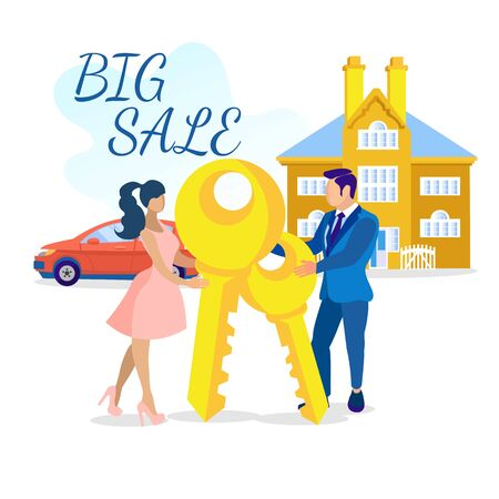 Big Sale on Real Estate Market Advertising Cartoon Banner. Happy Young Married Couple Holding Keys, Standing near Car and New Luxury House. Home Loan Advertisement. Vector Flat Illustration Illustration