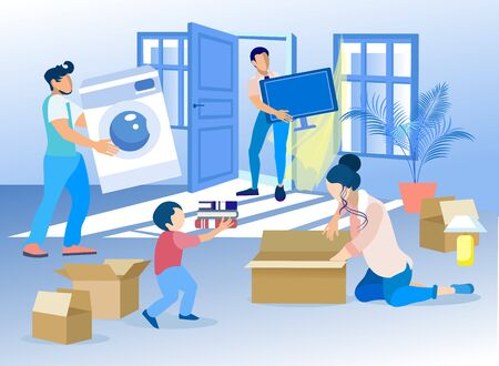 Family Packing Personal Items Ready for Moving. Cartoon Son Helps Mother to Put Books into Cardboard Pack. Father and Man from Transportation Service Carry Out Home Appliances. Vector Illustration Illustration