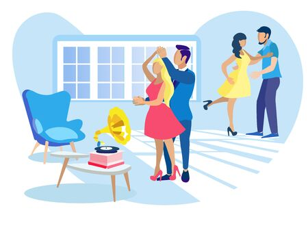 Home Dance Party. Flat Cartoon Couples Dancing to Gramophone Music. Men and Women Having Rest Together at Home, Celebrating Holiday, Birthday or Relaxing on Weekend. Flat Vector Illustration
