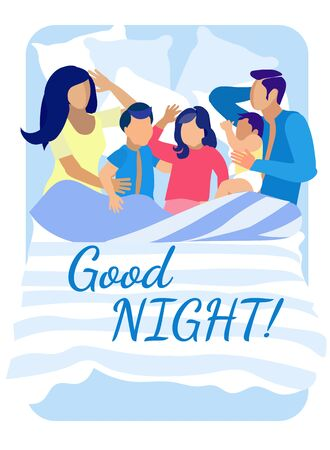 Good Night Wish Lettering. Family Sleeping in One Bed. Mother, Father and Three Children Lying under Blanket and Hugging. Happy Parents and Kids Having Sweet Dreams. Vector Flat Cartoon Illustration
