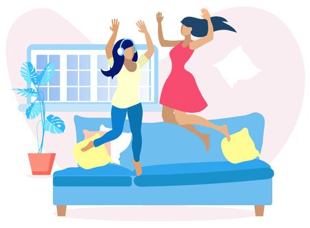 Two Pretty Women Having Fun at Home. Cartoon Flat Faceless Girls Jumping on Sofa and Rejoice in Living Room. Adult Sisters or Best Friends Resting. Vector Good Weekend Mood Illustration