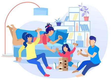 Flat Cartoon Teenagers and Kid Playing Jenga Puzzle Risk Game. Friends Having Fun Together. Recreation for Children at Home. Eldest Brother and Sisters Teaching Baby Rules. Vector Illustration