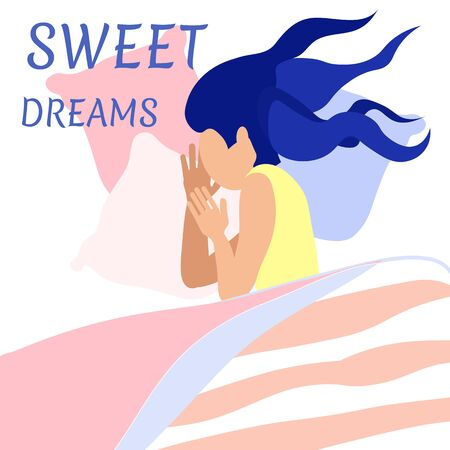 Sweet Dreams Wish Lettering Banner. Cartoon Pretty Faceless Woman with Long Wavy Hair Sleeping on Pillows under Blanket at Night. Flat Vector Sleepy Girl Portrait. Clam and Cozy Home Illustration