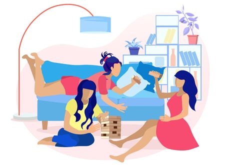 Young Women Playing Jenga in Living Room at Home Flat Cartoon. Indoor Recreation, Happy Weekends and Meeting with Friends. Relaxing and Having Fun. Vector Puzzle Game for Teens and Adults Illustration