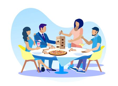 Friends Having Fun Playing blocks Illustration. Women and Men Sit around Table and Gaming with Wooden Blocks. Happy Time and Competition. Stack Balancing Toy and Satisfied People. Vector Flat Cartoon Ilustração