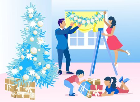 Last Preparation for Christmas. Vector Cartoon Father and Mother Hanging Garland or Tinsel on Window. Daughter and Son Sorting Gift Boxes. Decorating Living Room with Xmas Tree Flat Illustration Vector Illustration