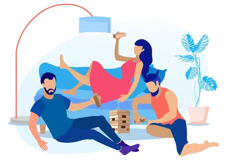 Friends Spending Time Together Play wooden blocks Cartoon. Young Woman Lying on Sofa with Building Block. Two Bearded Men Sitting on Floor Deciding where to Put Puzzle Piece. Vector Flat Illustration  イラスト・ベクター素材
