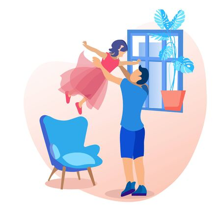 Cartoon Father and Daughter Having Fun Together. Dad Throws up Little Girl in Arms. Parent and Child Playing in Living Room at Home. Happy People. Unforgettable Childhood Vector Illustration