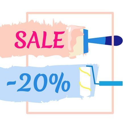 Sale Offer for Paint and Plaster Work. Advertising Cartoon Banner with Tools for Wall Repair and Decoration. Home Renovation Service. Best Discount up to 20 Percent. Vector Flat Illustration