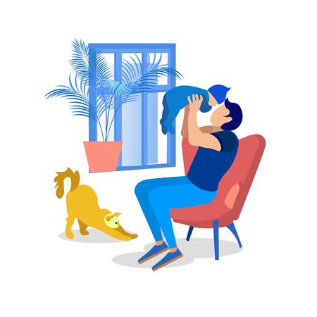 Cartoon Dad Sitting on Armchair with Newborn and Cat Stretching near. Father Playing with Little Baby. Daddy Raising Child. Happy Parenthood. Love, Care and Relationship. Vector Flat Illustration