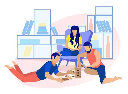 Flat Cartoon Friends Playing in Wood Block Game. Men Sitting on Floor and Building Tower. Woman on Armchair Looking after. Vector Gambling Puzzle Game for Teenagers and Adults Illustration  イラスト・ベクター素材