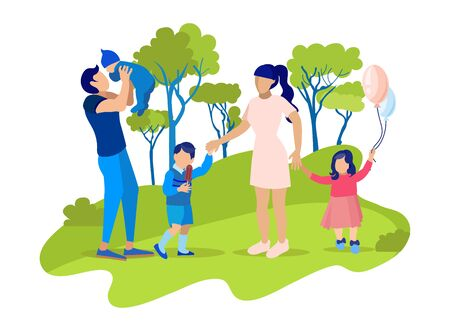 Flat Cartoon Multi-Child Family Walking in Park Together. Happy Father Carrying Baby. Mother Holding Preschooler Son and Daughter by Hand. Weekend Outdoors. Summer Vacation. Vector Illustration