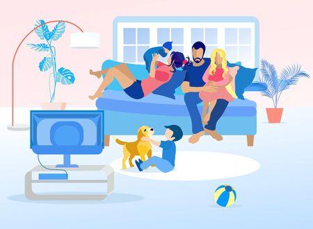 Familia feliz descansando el fin de semana en casa de dibujos animados. Madre acostada en el sofá y jugando con el bebé. Padre viendo la televisión con su hija de rodillas. Niño jugando con el perrito. Vector ilustración plana Ilustración de vector