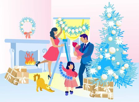 Happy Cartoon Family Decorating Home for Christmas Together. Father Holding Baby on Hands. Mother Hangs Garland Standing on Stepladder. Preschooler Daughter Helps Mom. Vector Flat Illustration  イラスト・ベクター素材
