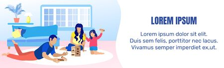 Text Banner with Family Playing wooden blocks at Home. Mother, Father and Daughter Building Wooden Tower on Floor in Living Room. Flat Cartoon Happy Family Recreation. Vector Advertising Illustration  イラスト・ベクター素材