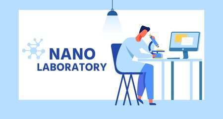Nano Laboratory Cartoon Banner with Flat Frame. Vector Male Researcher, Chemical Scientist Examining Nanoparticles Using Microscope, Calculating and Storing Results in Computer Illustration