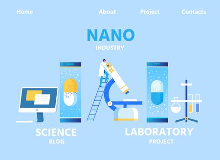 Nano Industry Landing Page for Science Blog and Laboratory Project Presentation. Flat Vector Lab Equipment and Computer. Male Researcher or Analytics on Ladder Looking in Huge Microscope Illustration