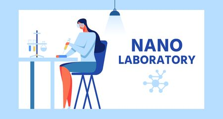 Frame Advertising Banner for Modern Nanolaboratory. Vector Female Cartoon Researcher Character, Woman Chemical Benchmarking Analyst in Uniform Doing Experiment with Reagents Flat Illustration