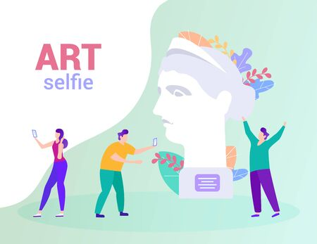People Make Photo on Background Statue. Art Selfie. Distance Learning. E-Learning. White Background. Advertising Image. Vector Illustration. Achive Goal. Study Art. Happy Students with Smartphone. Ilustrace