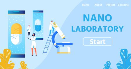 Nano Laboratory with Modern Equipment Flat Landing Page. Metaphor Layout with Man Researcher Analyzing Sample on Microscope. Male and Female Scientists Examining New Medicines Vector Illustration