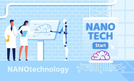 Nano Technology for Improvement Brain Functions with Micro Chip. Vector Co-working People with Artificial Intelligence. Robot and Scientists Discussing Atomic Nerve Centre Work Flat Illustration Çizim