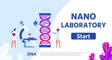 Nano Laboratory for Genetic Research Flat Webpage with Promotion Text and Start Button. Gene Engineering Illustration. Vector Female Scientists Do DNA Tests and Analysis Collaborating with Nanorobot