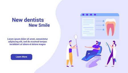Image of Dentists on Monitor. Online Course. Distance Learning. E-Learning. White Backgroundand Text. Advertising Image. Vector Illustration. Study Medicine. Students in White Coat. New Smile. Ilustrace