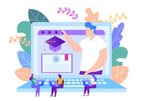 Protect Diploma Online Distance Education. Lesson Online. E-Learning. Online Training. Student with Laptop. White Background. New Technologies. Vector Illustration. Getting Diploma. Project Graduation
