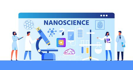 Nanoscience Advertising Metaphor Cartoon Banner with Speaking Scientists and Researchers about New Projects. Achievements and Developments in Nanomedicine and Nanotechnology Flat Vector Illustration
