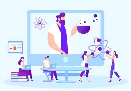 Students Perform Chemical Experiments. Teacher on Monitor Online. Distance Learning. E-Learning. Man with Laptop Sit at Table. New Technologies. Vector Illustration. Teacher on Monitor Screen.