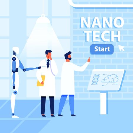 Flat Nano Tech Research Lab, Scientists and Robot. Collaboration People and AI in Nanomedicine, Nanotechnology and Genetic Engineering Development. Vector Cartoon Illustration with Start Button