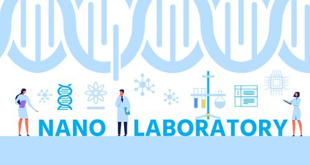 Advertising Banner with Helix DNA and Cartoon Vector Experts Standing between Letters Composing Text Nano Laboratory. Genetic Engineering, Gene Evolution and Scientific Research Illustration  イラスト・ベクター素材