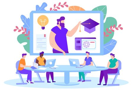 Men with Laptops front Monitor. Distance Learning. E-Learning. Online Training. Man with Laptop on Background Monitor. New Technologies. Vector Illustration.Teacher on Monitor Screen. Tell Lecture. Ilustrace