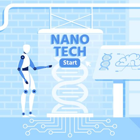 Artificial Intelligence and Nano Technology Metaphor Design in Loft Style. Flat Humanoid Working with Helix DNA. Gene Evolution and Genetic Engineering. Surrealistic Project. Vector Illustration