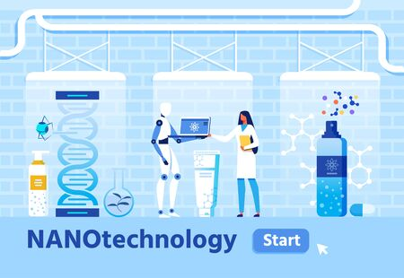 Medical Research and Nanomaterial creation Flat Banner. Vector Female Scientist and Humanoid Discussing New Nanoproduct on Computer Screen. Nano Robot Work on Gene Evolution Illustration