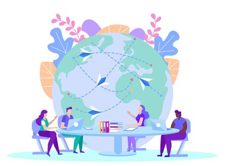 People with Source Information on Background Globe. Distance Learning. E-Learning. Online Training. People Sit at Table with Laptops. New Technologies. Vector Illustration. E-learning Around World.