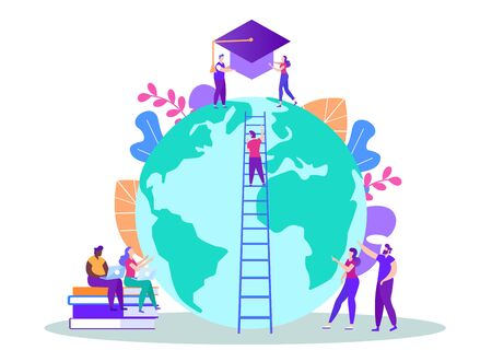 Finish Distance Education. Achive Goal. Man on Stairs on Background Globe. Distance Learning. Lesson Online. E-Learning. Vector Illustration. Getting Diploma. Stage of Study. Graduation Project.