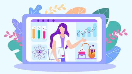 Chemistry Teacher Leads Lesson Online. Distance Learning. Lesson Online. E-Learning. Online Training. Chemical Experience. Chemical Vessel. Vector Illustration. Study Chemistry. Teacher in White Coat. Ilustrace