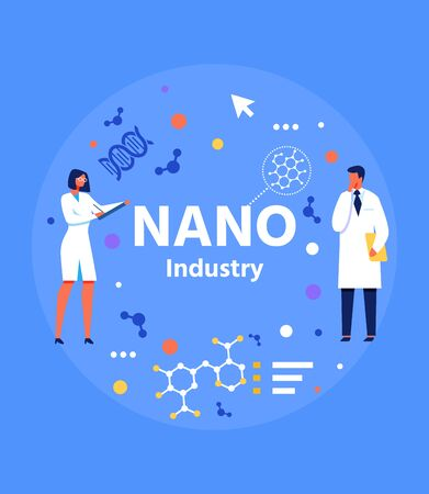Abstract Flat Banner for Nano Industry Presentation. Vector Man and Woman Scientist with Nanoparticles and Nanomaterials in Circle Isolated on Blue Illustration. New Technology. Research, Intervention