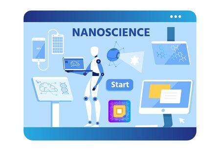 Banner plano de publicidad de nano ciencia. Diseño de la pantalla del dispositivo. Vector Flat Robot utiliza una computadora portátil para la autoeducación o el desarrollo de la innovación, Power Bend conectado al teléfono, PC, monitor, ilustración de micro chip Ilustración de vector