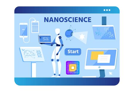 Nano Science Advertising Flat Banner. Device Screen Design. Vector Flat Robot Uses Laptop for Self-Education or Develop Innovation, Power Bend Connected to Phone, PC, Monitor, Micro Chip Illustration Vektorové ilustrace