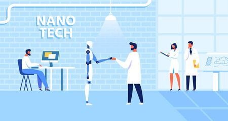 Cartoon Nano Tech Laboratory with Scientists and Assistants Work on Artificial Intelligence Creation. Male Doctor Greets Robot. Cyber Technology, Bionics, Robotic Production Vector Flat Illustration