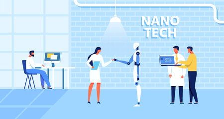 Cartoon Nano Tech Research Center for AI Creation. Scientists, Assistants, Developers Check Robot Skills, Artificial Brain Functions. Cybernetic, Bionics, Robotic Production. Vector Flat Illustration