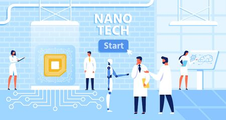 Cartoon Banner with Start Button for Presentation Nano Tech Laboratory and Effective, Successful People and Robot Collaboration. Nanotechnology and Genetic Engineering Development Vector Illustration  イラスト・ベクター素材